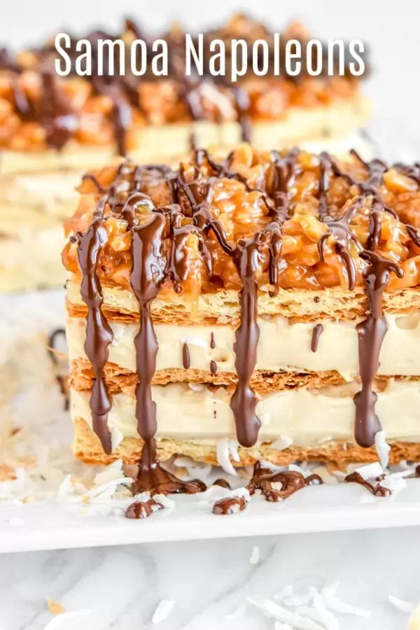 This easy Samoa Napoleon Cake puts a Girl Scout cookie spin on a classic Napoleon cake. Samoa Napoleon Cake, or Mille-Feuille, is a delicate cake made with flakey puff pastry, sweet caramel cream, and the rich coconut and caramel flavor of Samoa cookies! It is a beautiful, decadent dessert recipe. #dessert #girlscoutcookies #caramel #coconut #pastry #puffpastry #homemadeinterest