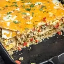 cheesy Breakfast Burrito Casserole layers