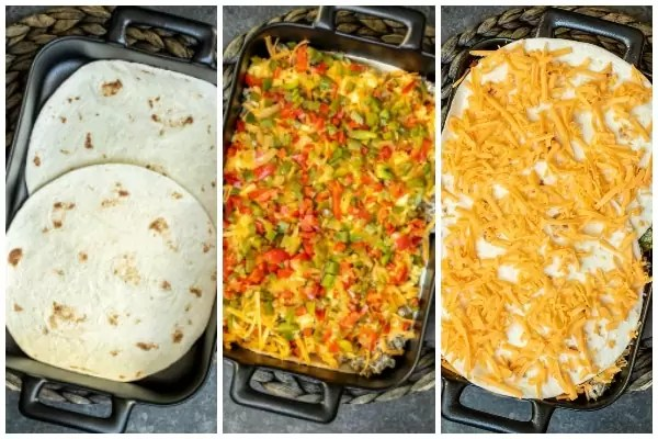 how to layer Breakfast Burrito Casserole