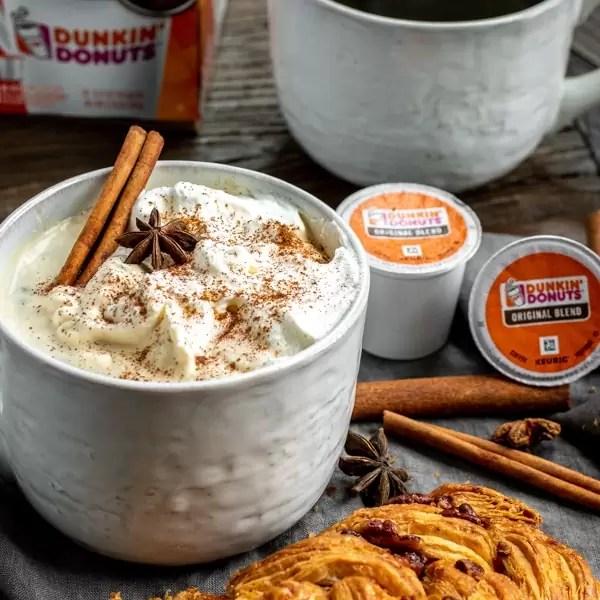 Dunkin Cinnamon Coffee with whip cream