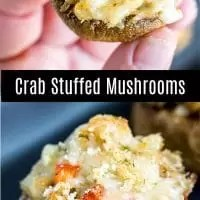 These delicious Crab Stuffed Mushrooms are a combination of crab meat, breadcrumbs, and cheese. It is an easy appetizer recipe that makes a great Christmas appetizer of New Year's Eve appetizer. It is a classic bite size seafood appetizer that is sure to impress your guests. #appetizer #christmas #newyearseve #mushroom #crab #homemadeinterest