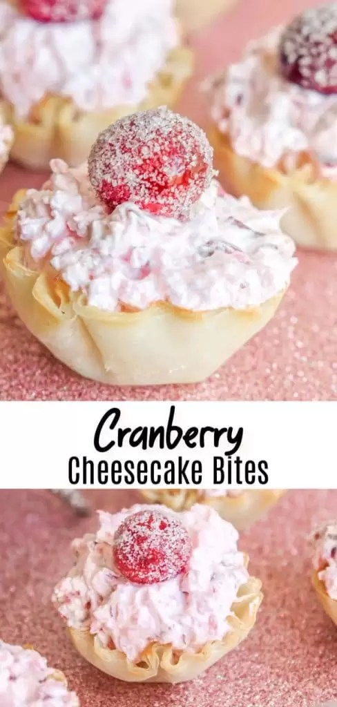These delicious Cranberry Fluff Cheesecake Bites are an easy bite-size dessert filled with sweet cream cheese topped with light cranberry fluff. They are a no bake Christmas dessert recipe or Thanksgiving dessert, that is the perfect easy recipe for your holiday party. #christmas #thanksgiving #cranberries #dessert #cheesecake #bitesized #thanksgivingdesserts #christmasdesserts #homemadeinterest