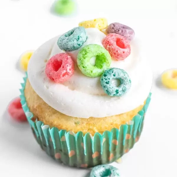 Froot Loops Cupcake with multicolor Froot Loops on top