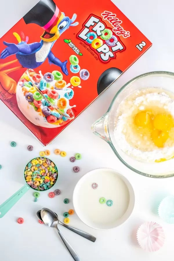 Box of Froot Loops and ingredients to make Froot Loops Cupcakes