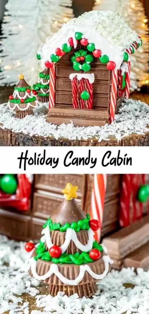 If you are looking for fun ideas for Christmas decorations you have to add this Santa's Candy Cabin to your list. It is a fun craft for kids during Christmas. It's a no bake alternative to a gingerbread house made out of XL HERSHEY'S Milk Chocolate Bars, XL KITKAT® Wafer Bars, and your favorite Christmas candy! Get the pattern for Santa's Candy Cabin and start making memories. AD #HERSHEYS #KITKAT #christmascandy #christmas #gingerbreadhouse #chocolate #homemadeinterest