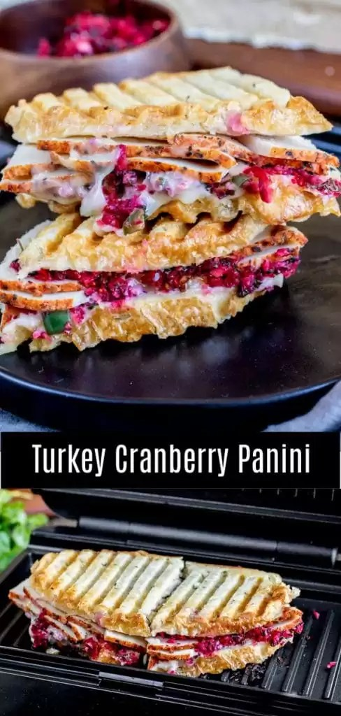 This easy Turkey and Cranberry Panini is a hot, toasted sandwich made with thinly sliced turkey, creamy brie cheese, and sweet and spicy cranberry salsa, all sandwiched between two buttered pieces of bread. Save your leftover Christmas or Thanksgiving dinner to make a could of these delicious sandwiches on your De'Longhi Livenza Compact All Day Grill AD #delonghi #livewell #thanksgiving #christmas #cranberries #panini #homemadeinterest