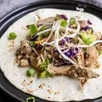 open face Low Carb Moo Shu Pork tortilla