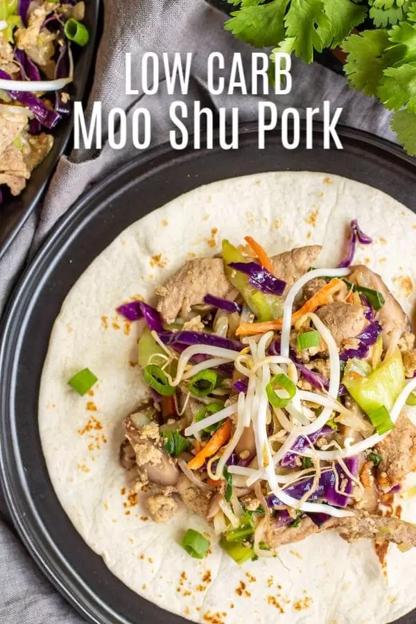 Low Carb Moo Shu Pork is an easy low carb dinner recipe made with a mix of stir-fried pork and vegetables served on a low carb tortilla. It's a low carb version of your favorite chinese stir-fry dish. #lowcarbdiet #lowcarb #pork #easydinnerrecipes #homemadeinterest
