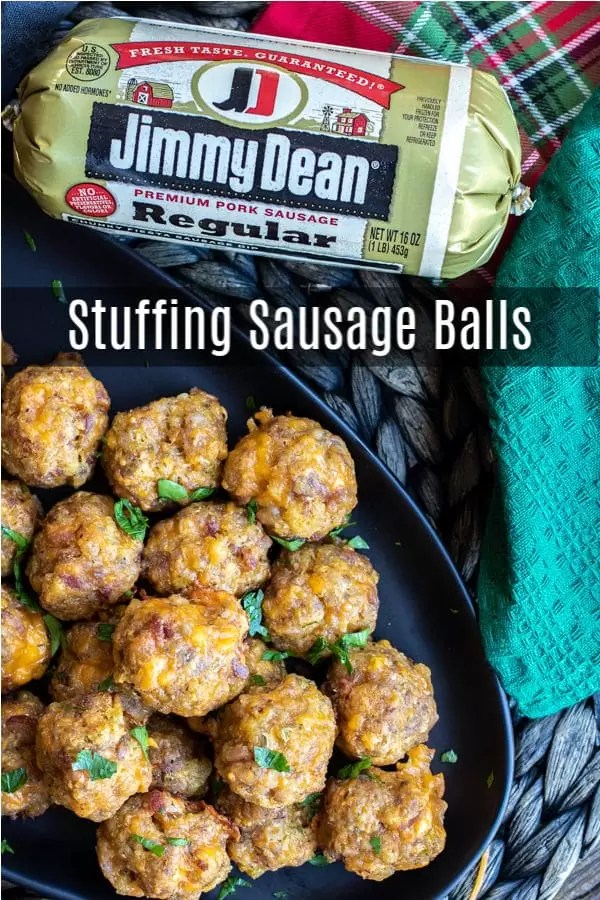 #AD: This is the BEST recipe for Stuffing Sausage balls made with sausage, bacon, stuffing, and cheddar cheese. This easy make ahead sausage ball recipe is a great appetizer for holiday parties! #sausage #sausageballs #bacon #stuffing #appetizer #christmas #thanksgiving #newyears