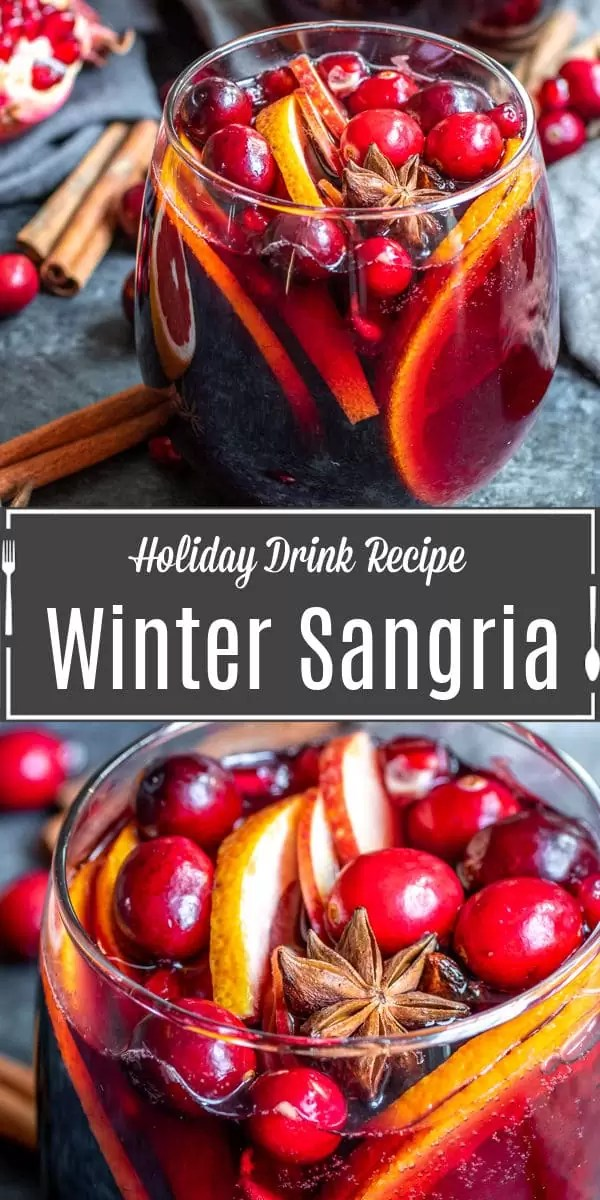 Pinterest iage of Winter Red Wine Sangria with title text