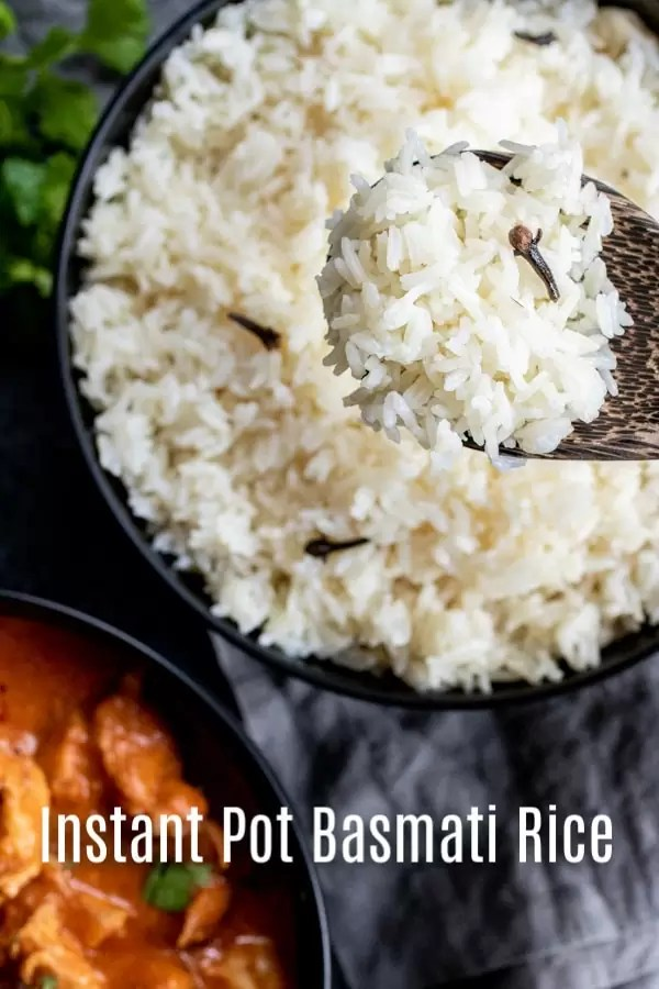 A quick an easy instant pot basmati rice recipe that shows you how to cook Instant Pot rice. Make basmati rice in your pressure cooker along with warm spices like clove and cardamom to give it a delicious seasoned rice flavor. It's a great side dish for Indian recipes and is the perfect addition to family dinners. #rice #instantpot #instantpothacks #easydinnerrecipes #basmatirice #homemadeinterest