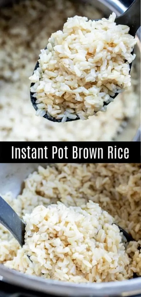 This recipe for Instant Pot Brown Rice makes perfect brown rice every time. Make this easy brown rice recipe in your pressure cooker using chicken broth, vegetable broth, or water. This easy Instant Pot side dish is family dinners. #instantpot #pressurecookerrecipes #instantpothack #brownrice #homemadeinterest