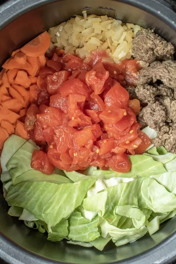 ingredients to make Instant Pot Cabbage Roll Soup