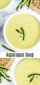 This easy Creamy Asparagus soup is a healthy low carb, keto soup that is perfect for spring! Asparagus, cream, and a splash of lemon juice make this light, bright soup a great addition to your Easter dinner, or Easter brunch. Make this asparagus soup in an Instant Pot or on the stove top with step-by-step instructions provided for both. #spring #easter #instantpotrecipes #asparagus #soup #keto #lowcarb #homemadeinterest