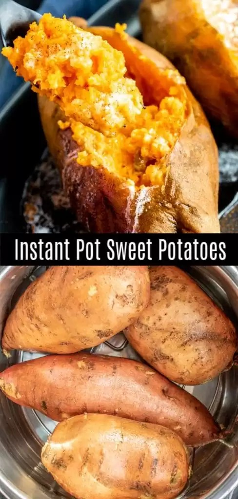Instead of baked sweet potatoes these sweet potatoes are made in the Instant Pot. One of my favorite healthy Instant Pot recipes to make for dinner. These Instant Pot Sweet Potatoes are sweet potatoes cooked in the pressure cooker. Serve them whole or mashed. #instantpot #pressurecookerrecipes #sweetpotatoes #side #instantpothacks #homemadeinterest