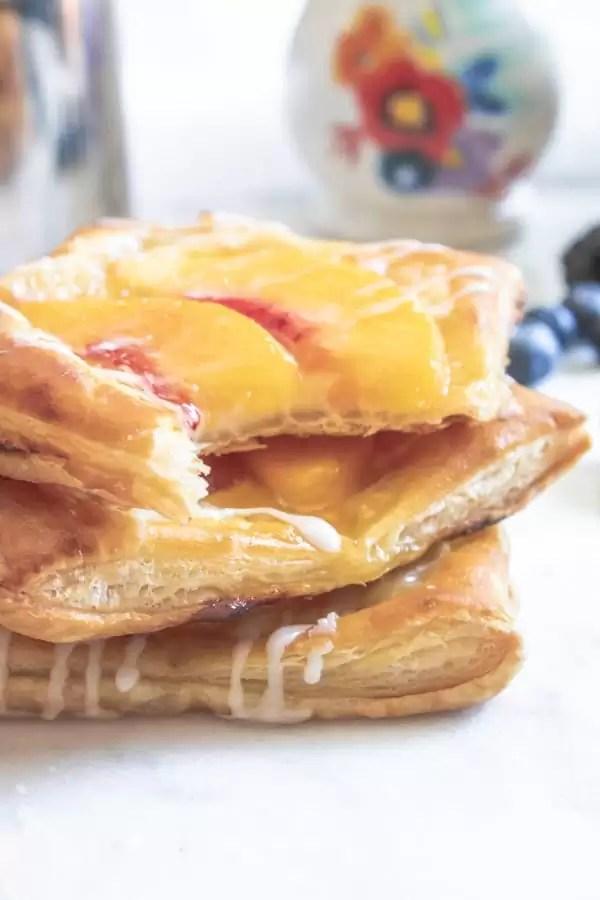 Peach Cream Cheese Danish stacked