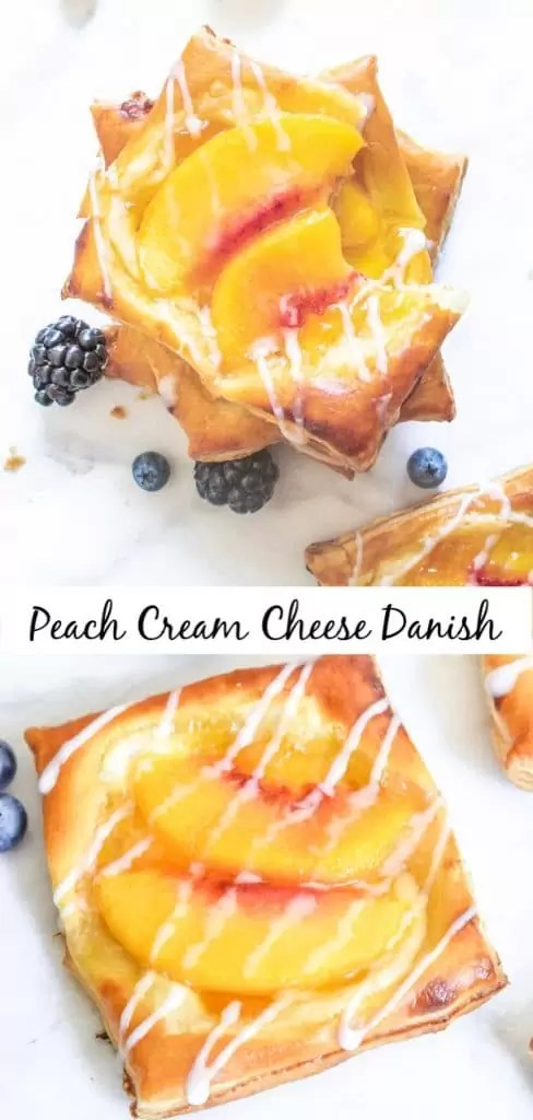 Peach Cream Cheese Danish are made with puff pastry, peach preserves, cream cheese, and fresh peach slices. They are a homemade danish recipe that is perfect for Easter brunch, Mother's Day brunch and breakfast the whole year round! #breakfast #brunch #easter #mothersday #peaches #danish #puffpastry #homemadeinterest