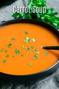 This easy Carrot Soup is a delicious, healthy, spring soup made with fresh carrots. You can make this using an Instant Pot or on your stove top. This carrot soup is dairy free, and if you use vegetable broth this can be a vegan soup. Serve this easy carrot soup as an Easter appetizer or as a part of your Easter dinner menu. #carrots #soup #spring #easter #instantpotrecipes #instantpot #pressurecooker #homemadeinterest