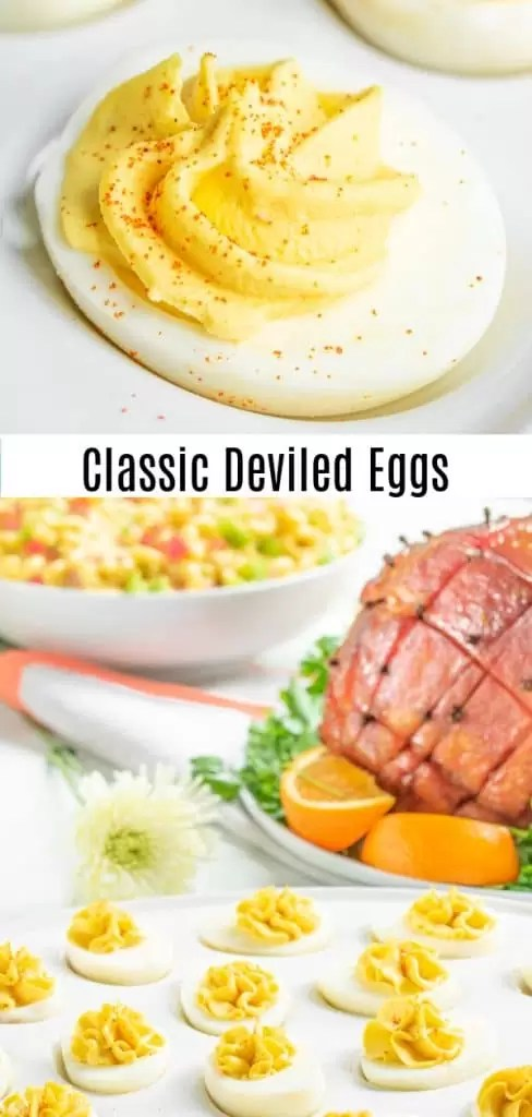 This easy, classic deviled eggs recipe is made with relish, mustard, and mayonnaise, for a sweet, tangy, deviled egg filling that is the BEST Deviled Eggs recipe for Easter, potlucks, summer parties, and football party food! This traditional southern deviled eggs recipe can be made ahead of time so it is the perfect appetizer or party food! #deviledeggs #eggs #easter #appetizer #homemadeinterest