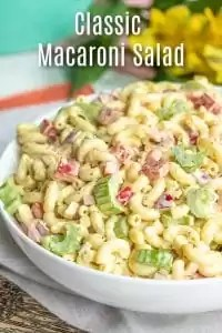 Classic Macaroni Salad is an easy side dish for potlucks, summer parties, or Easter dinner! Elbow macaroni, veggies, and a creamy tangy sauce make this cold pasta salad perfect for a crowd. It's an old fashioned southern macaroni salad recipe made with mayonnaise, vinegar, sweet pickle relish, and mustard. Add ham, tuna, or hard-boiled eggs if you like! #macaroni #pasta #easter #potlucks #summerrecipes #pastasalad #homemadeinterest