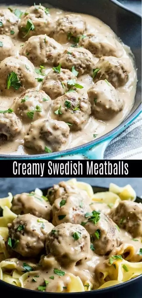 Easy Swedish Meatballs are a traditional Swedish dish with perfectly browned, flavorful homemade meatballs coated in a rich and creamy sauce. Make Ikea's Swedish meatballs at home with this easy recipe. Pork and ground beef are rolled together for moist, tender homemade meatballs, and then they are cooked in a delicious creamy sauce. Serve over noodles for the perfect comfort food! #meatballs #pork #groundbeef #comfortfood #homemadeinterest