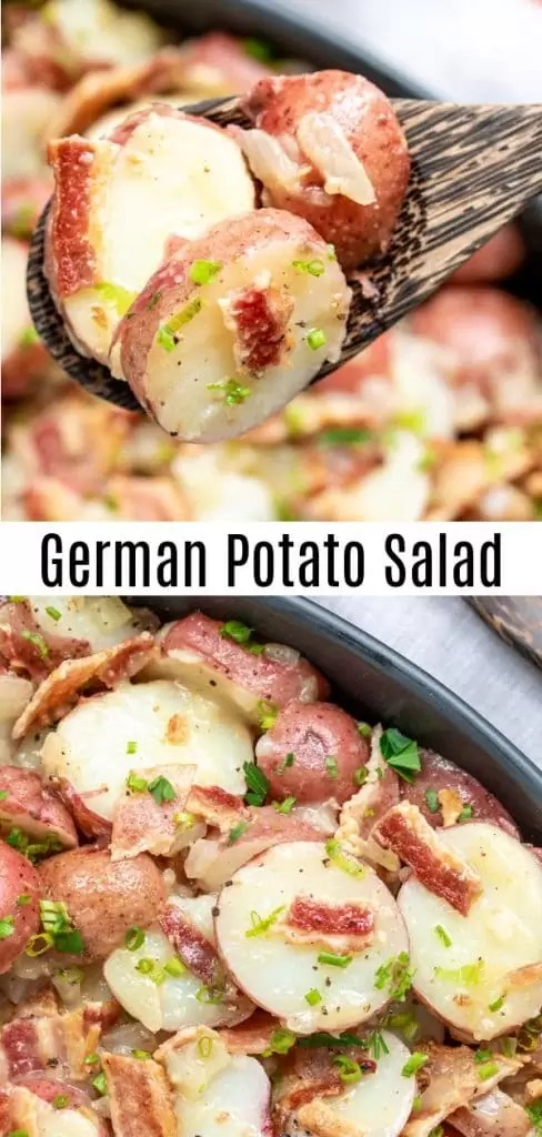 This traditional German Potato Salad is served hot, or warm, (you can serve it cold though!). It's an easy potato salad recipe made with vinegar, mustard, and with bacon. No mayonnaise. German potato salad is simple but delicious and it is great for a crowd. Make it as an Easter side dish for your Easter dinner, for a potluck, or summer party. #potatoes #potatosalad #bacon #easter #potluckrecipes #homemadeinterest