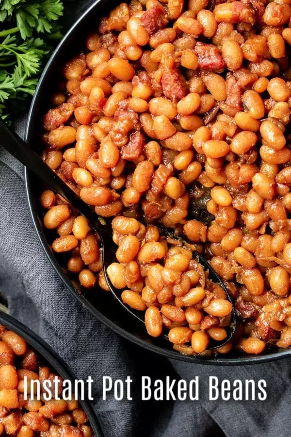 This easy recipe for Instant Pot Boston baked Beans is made from scratch using dried beans, salt pork (or bacon), and molasses for that traditional Boston baked bean flavor. These Instant Pot baked beans make a great side for summer bbqs, pot lucks, or family dinners at home. #bakedbeans #potlucks #beans #instantpot #pressurecooker #instantpotrecipes #homemadeinterest