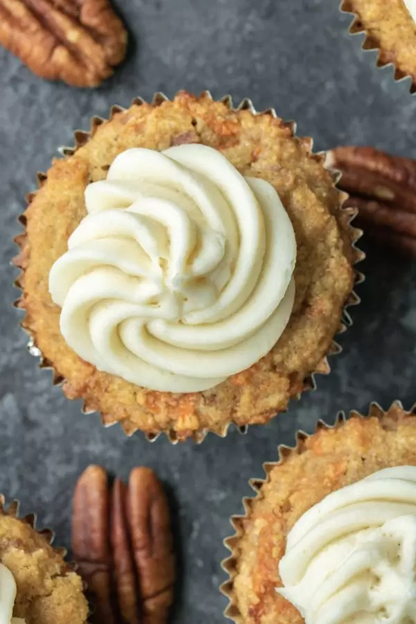 low carb carrot cake cupcake with Keto Cream Cheese Frosting