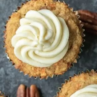 keto carrot cake cupcake with Keto Cream Cheese Frosting