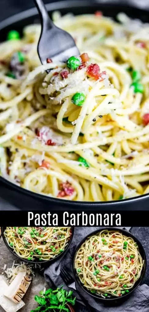 This authentic pasta carbonara recipe is an easy spaghetti carbonara made with a creamy sauce of eggs, and pecorino romano cheese, tossed with pancetta and peas. This creamy pasta carbonara can also be made with bacon and without peas. It's the best spaghetti carbonara recipe and so easy to make! #pasta #bacon #spaghetti #easydinnerrecipes #homemadeinterest