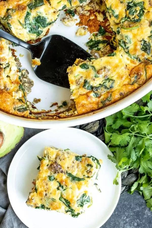 Sausage & Spinach Crustless Quiche great brunch casserole