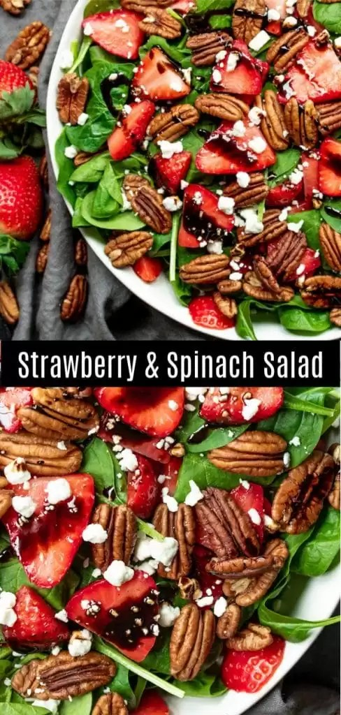 This beautiful Strawberry Spinach Salad is tossed with balsamic vinegar dressing for a healthy summer salad. This is an easy salad recipe with fresh strawberries, baby spinach, pecans, and goat cheese. You can also substitute walnuts, almonds or candied pecans! Make this easy summer salad for Easter dinner, Mother's day brunch, Memorial Day, 4th of July, or Labor day picnics! #easter #mothersday #4thofjuly #healthy #salad #strawberries #homemadeinterest