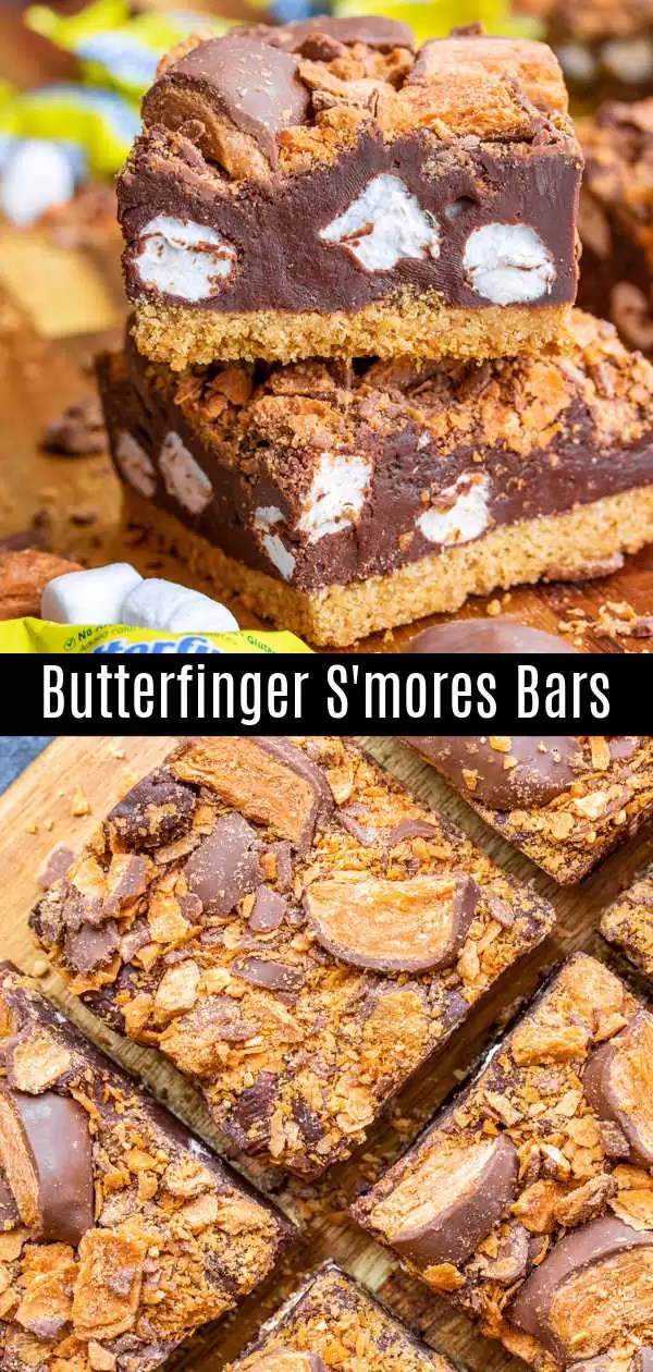 These easy Butterfinger S'mores Bars are semi-no bake s'mores with a golden graham cracker crust, a thick layer of marshmallow fudge, topped with crispety, crunchety, peanut-buttery Butterfinger Minis on top. It's a chocolate dessert bar perfect for summer parties, potlucks, or camping. It's the BEST s'mores recipe you'll ever make! #ad #smores #chocolate #grahamcracker #dessert #homemadeinterest