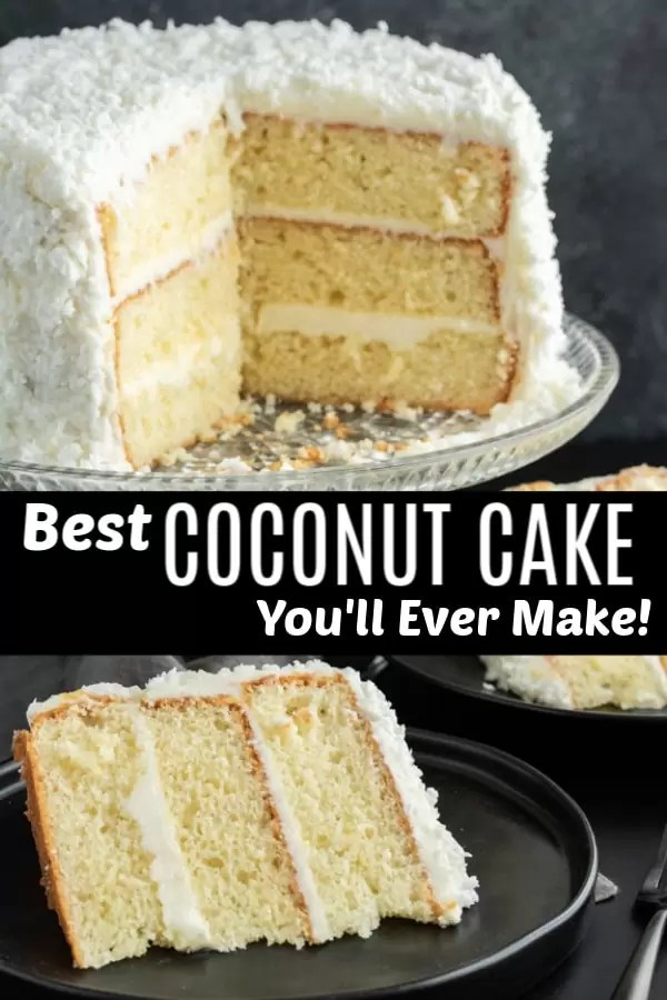 Coconut Cake | This is the best coconut cake recipe I've ever made. This easy coconut cake recipe is moist and delicious and uses fresh coconut! This traditional southern recipe is a delicious coconut cake that makes a perfect Easter dessert, Thanksgiving dessert, Christmas dessert, or just an amazing cake for a party! This three layer coconut cake is beautiful and delicious! #cake #coconut #coconutcake #thanksgiving #christmas #dessert #homemadeinterest