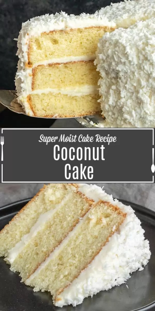 Pinterest image of Best Coconut Cake with title text