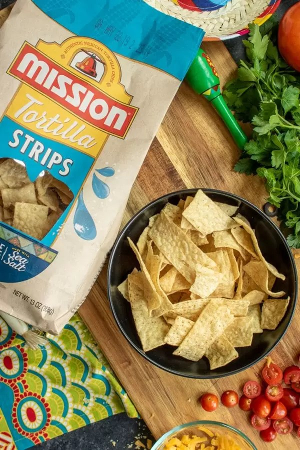 bowl of Mission tortilla chips