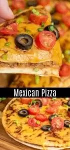 Celebrate Cinco de Mayo with a Mexican Pizza fiesta. This homemade Mexican Pizza is made with two crisp tortillas, refried beans, and seasoned ground beef, topped with sauce, cheese and baked until crisp, and topped with your favorite fresh toppings. It is an easy lunch or dinner recipe that is makes a great Cinco de Mayo recipe. AD #cincodemayo #groundbeef #pizza #mexicanfood #homemadeinterest