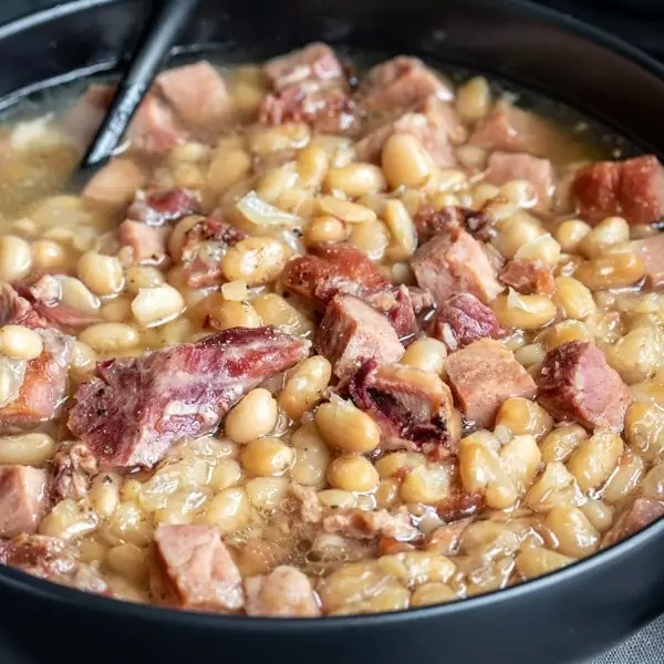 bowl of Navy Bean Soup made with leftover ham
