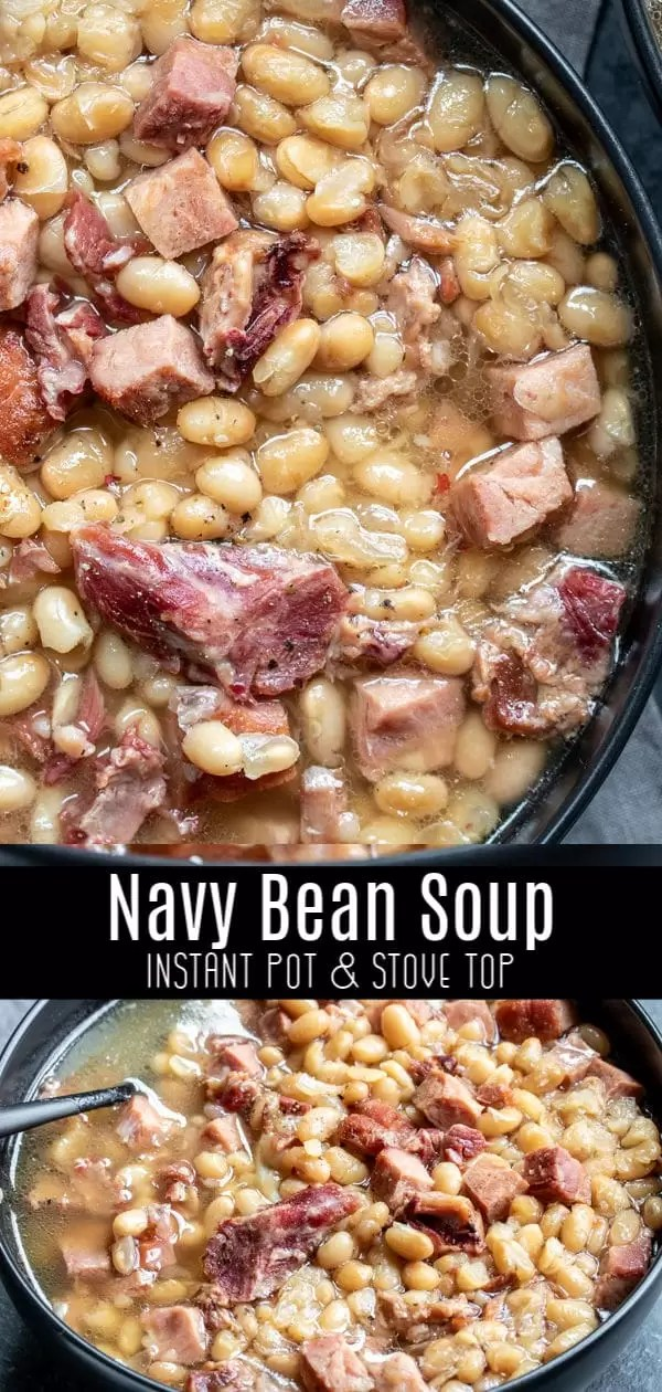 This easy Instant Pot Navy Bean Soup is an old fashioned recipe for a delicious soup made with a hamhock, ham, and navy beans. That's it! It's a creamy, flavorful bean soup that's the best way to use up leftover ham after Easter, or Christmas dinner. #ham #beans #instantpotrecipes #instantpot #pressurecooker #soup #homemadeinterest