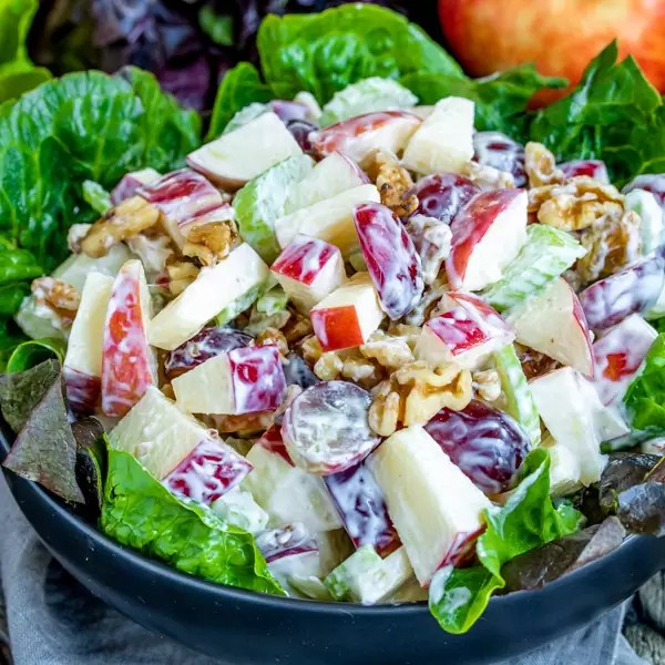 Waldorf Salad made with apples and grapes