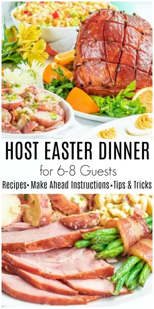 Everything you need to host easter dinner! A complete Easter menu with tips, tricks, and make ahead instructions for classic Easter recipes. How to host Easter dinner for 6-8 people. Easter appetizer, Easter side dishes, Easter ham, and Easter dessert. #easter #hosting #easterdinner #party #homemadeinterest