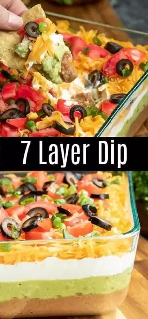 This easy Mexican 7 Layer Dip is the perfect dip recipe for a crowd! This game day dip can be made ahead of time and served cold or at room temperature with chips. It's the perfect appetizer for 4th of July and summer picnics and it makes great Super Bowl party food! This vegetarian dip is layers of sour cream, guacamole, beans, tomatoes, cheese, olives, and onions. #dip #mexican #refriedbeans #guacamole #gameday #homemadeinterest