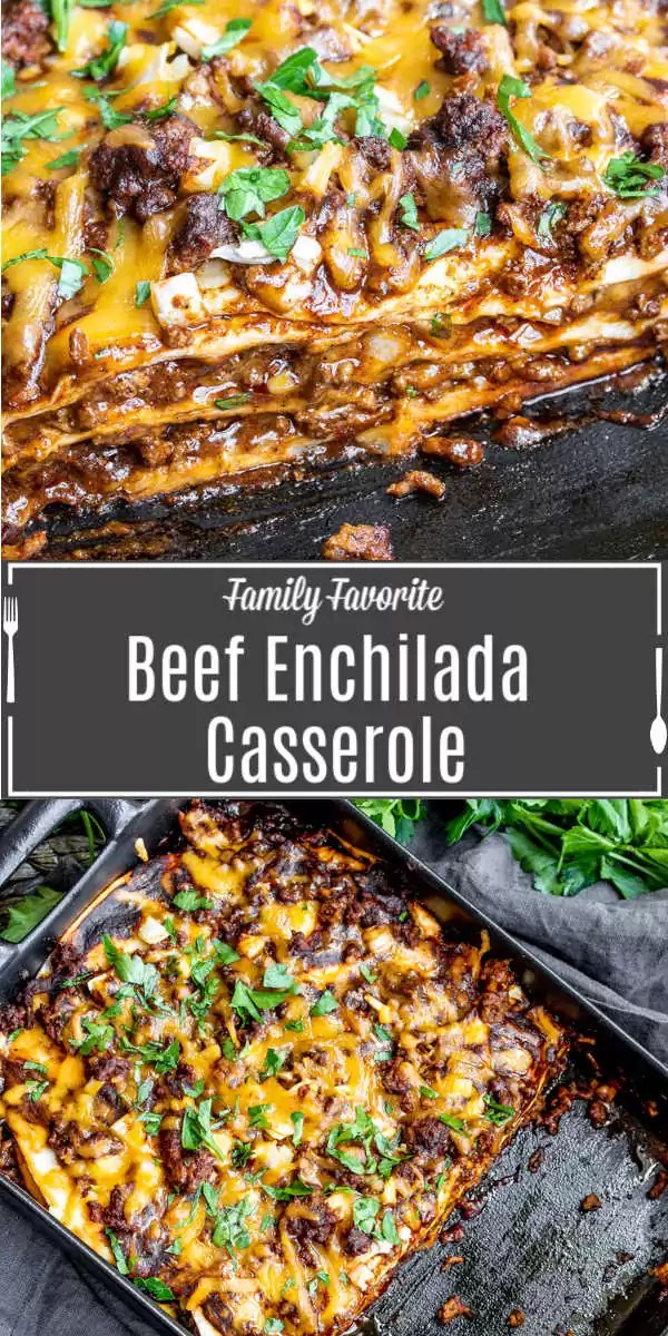 Pinterest image of Beef Enchilada Casserole with title text