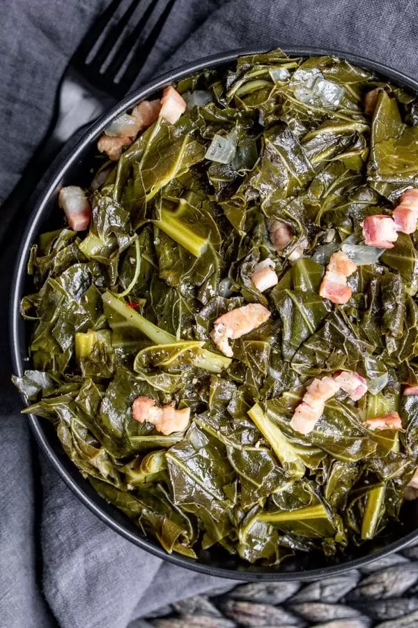 bowl of Instant Pot Turnip Greens made with bacon