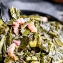Instant Pot Collard Greens with bacon in a black bowl