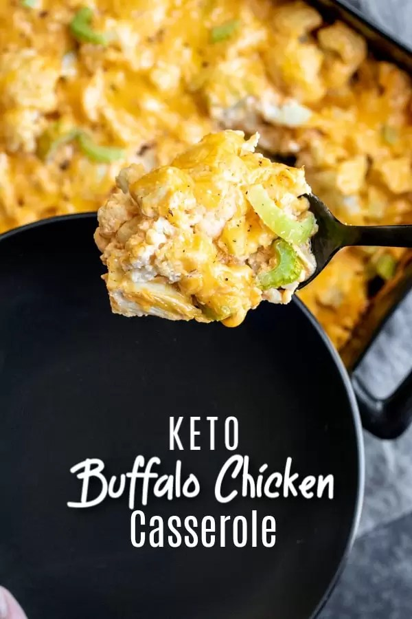 Keto Buffalo Chicken Cauliflower Casserole is a quick and easy low carb dinner recipe made with cauliflower, cream cheese, cheddar cheese, and spicy buffalo chicken. It's a creamy, loaded cauliflower casserole that is a healthy keto dinner. #buffalochicken #chicken #cauliflower #lowcarbrecipe #ketorecipe #casserole #homemadeinterest