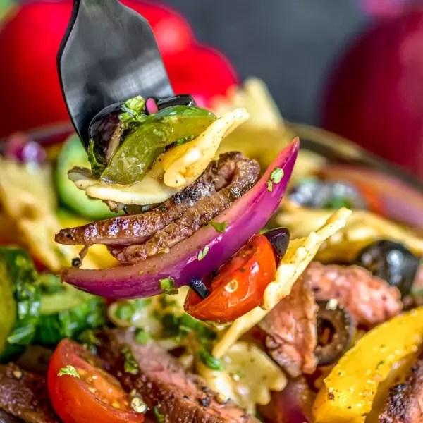 easy potluck Steak Fajita Pasta Salad