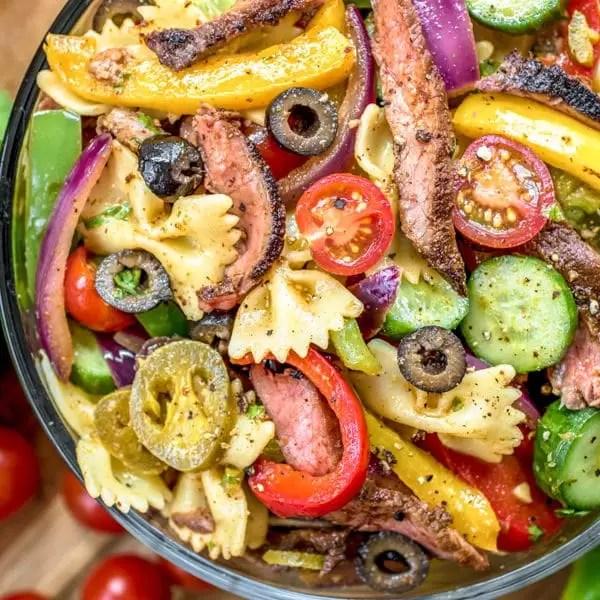 bowl of Steak Fajita Pasta Salad