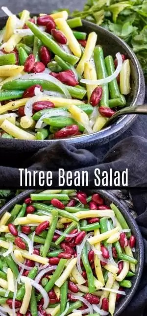 This easy Three Bean Salad is the BEST classic salad recipe for summer potlucks. It's a gluten-free, vegan, side dish made with fresh or canned green beans, wax beans, and kidney beans (the traditional way) or you can substitute chickpeas. The sweet and sour dressing is made with vinegar and sugar. It's the perfect cold side dish for summer parties. #beans #salad #vegan #potluck #sidedish #homemadeinterest