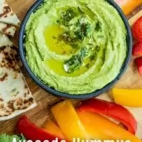 This delicious Avocado Hummus is a healthy hummus recipe made without tahini. It is an easy, vegan, gluten-free dip made with avocados and chickpeas, whipped into a smooth, creamy, spreadable dip. A simple dip that is a healthy appetizer for parties. #hummus #appetizer #dip #vegan #avocado #homemadeinterest